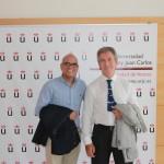 """Curso de Verano """"Energía Inteligetne para un Futuro Sostenible"""". Vicerrector Juan José Nájera y Director del Curso, Guillermo Calleja. Julio de 2015."""
