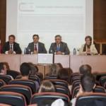 Segunda Jornada de la Cátedra Indra-Universidad de Alcalá.  Vicerrector Juan Manuel Velasco, Manuel Rosa, Pilar Jarabo, David Pascual.  Abril de 2014.