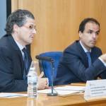 """Curso URJC """"Smart Cities"""". Vicerrector Juan Antonio Melero y Director de la ETSIT Javier Ramos. Noviembre de 2014."""