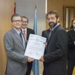 Entrega Institucional URJC de los Premios CEI 2015. Juan Antonio Melero Hernández y el investigador Antonio Caamaño Fernández