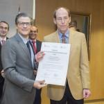 Entrega Institucional URJC de los Premios CEI 2015. Juan Antonio Melero  Hernández y el investigador Ignacio Mauleón Torres