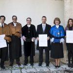 Entrega Institucional UAH de los Premios CEI 2016. B. Barroeta, Vicerrectora M.L. Marina, Rector F. Galván, S. Salcedo, E. Castaño, A. Gardel.